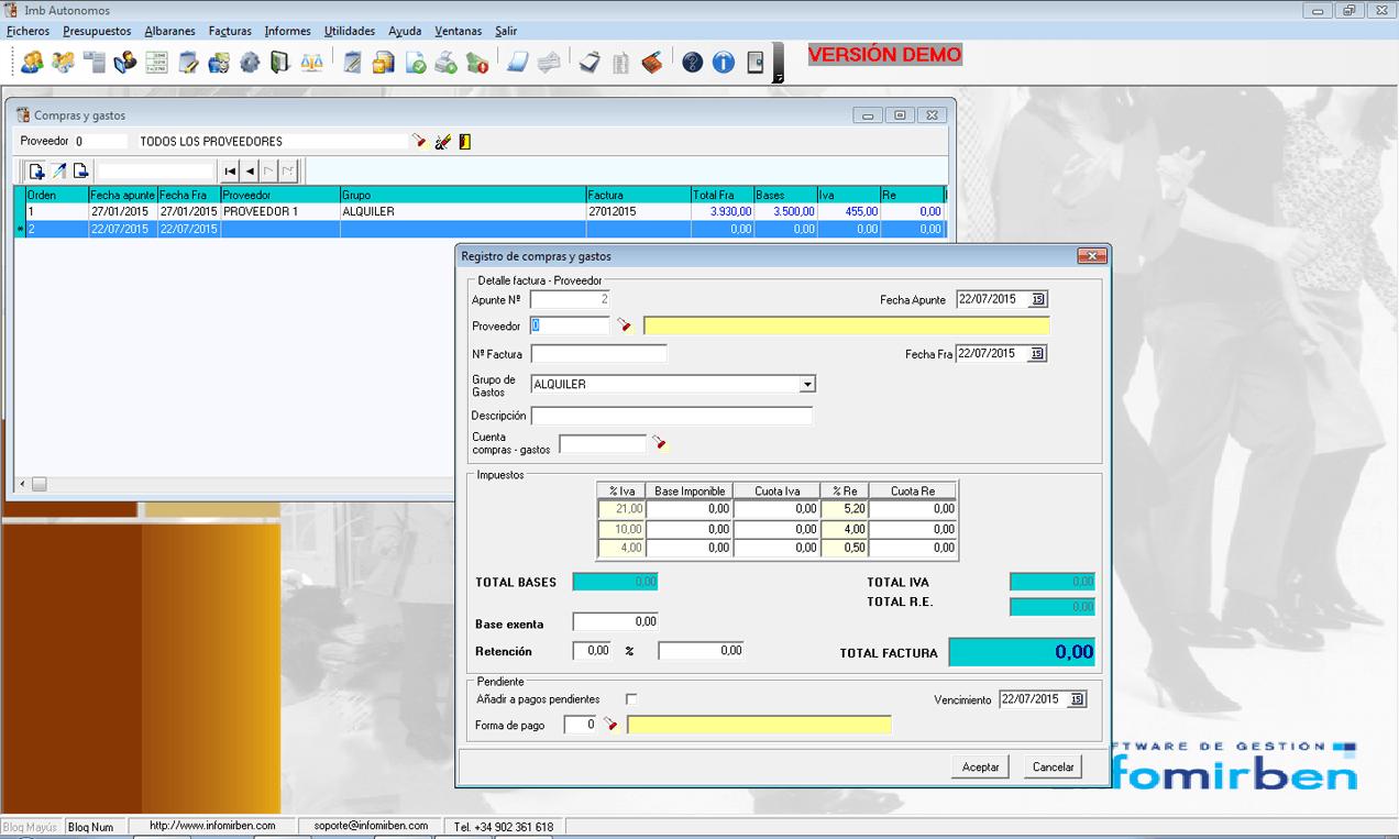 Registro de facturas de proveedores