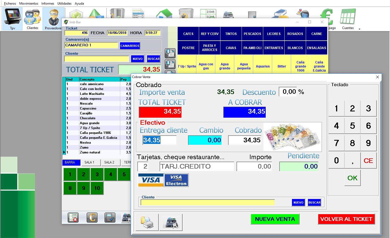 Pantalla de gestión de barra y TPV. Permite el uso de pantalla táctil